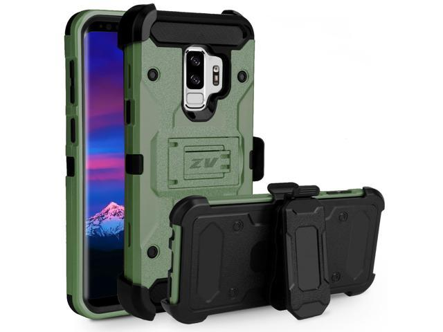 huge discount 037db 7783f ZV Tough Armor Case Samsung Galaxy S9 Plus - Dual Layered with Kickstand  and Holster Belt Clip (Army Green & Black) - Newegg.com