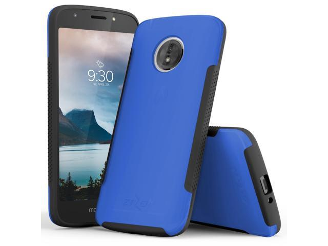 competitive price f9cf2 ab5e6 Zizo FLUX 3.0 Series compatible with Motorola moto e5 Cruise Case Frosted  Rubber Back with Tempered Glass Screen Protector moto e5 Play BLUE - ...