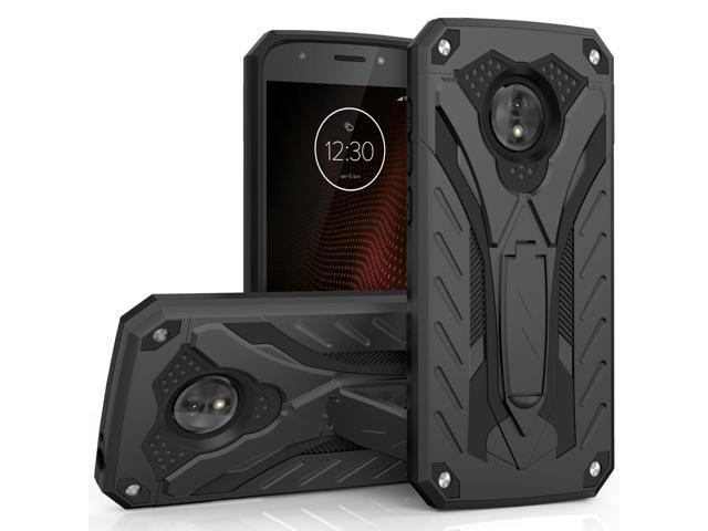 sale retailer 3b19a b9ad5 Zizo STATIC Series compatible with Motorola moto e5 Cruise Case Military  Grade Drop Tested with Built in Kickstand moto e5 Play Case BLACK - ...