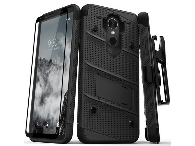 Zizo BOLT Series compatible with LG Stylo 4 Case Military Grade Drop Tested  with Tempered Glass Screen Protector, Holster, Kickstand BLACK -
