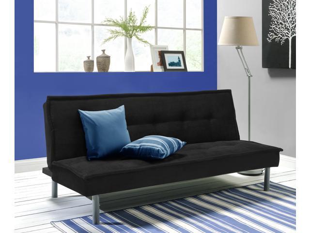 DHP Modern Kent Convertible Sofa Futon, Rich Black Microfiber Couch Bed W/  Sturdy Metal
