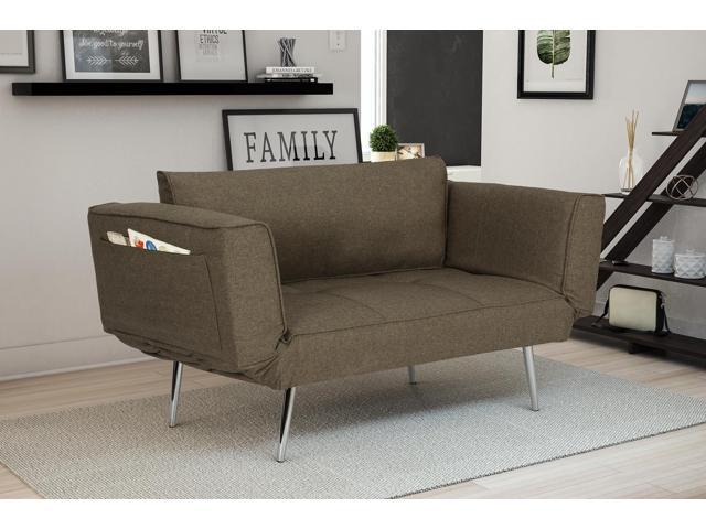 Pleasant Premium Gray Futon Sofa Sleeper Couch With Twill Fabric Chrome Legs Adjustable Armrests W Magazine Storage Andrewgaddart Wooden Chair Designs For Living Room Andrewgaddartcom