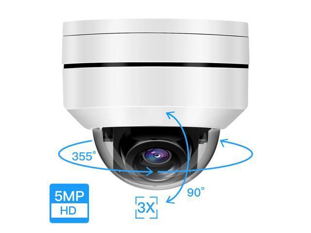 5MP POE Mini Dome IP PTZ Camera 5X Optical zoom  IP66 Outdoor Audio input