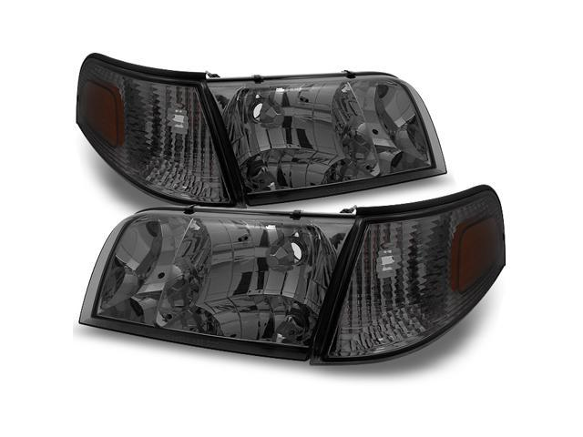 For Ford Crown Victoria Smoke Replacement Headlights W Corner Lamps 4pc Left Right Pair