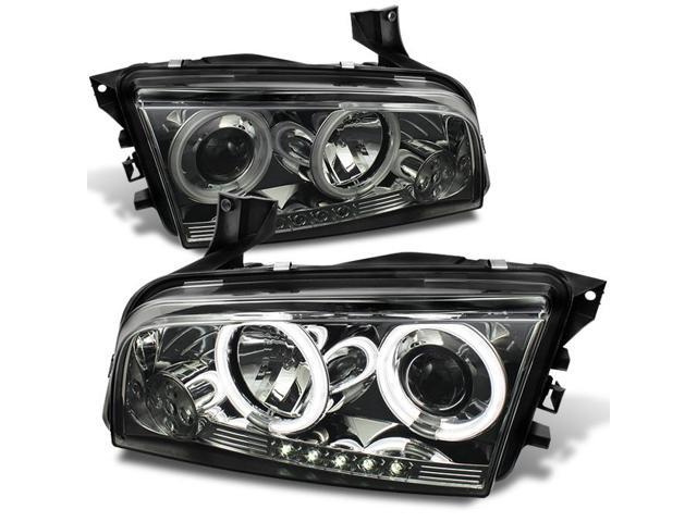 For Charger Smoke Smoked CCFL Halo Ring DRL LED Projector Replacement  Headlights Replacement Left +Right - Newegg com