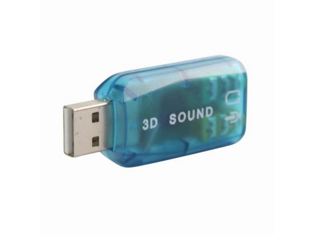 External 5.1 USB 3D Audio Sound Card Adapter for PC Desktop Notebook Laptop Black