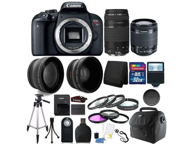 Canon EOS Rebel T7i / 800D 24 2MP Built-In Wi-Fi DSLR Camera + 75-300mm +  32GB Top Accessory Bundle - Newegg com