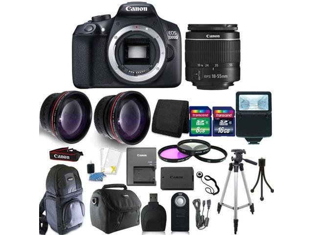 Canon EOS 1300D 18MP Digital SLR Camera (Black) + 18-55mm IS II + 58mm 3pc  Filter Kit + Telephoto & Wide Angle Lens + 24GB Memory Card + Remote