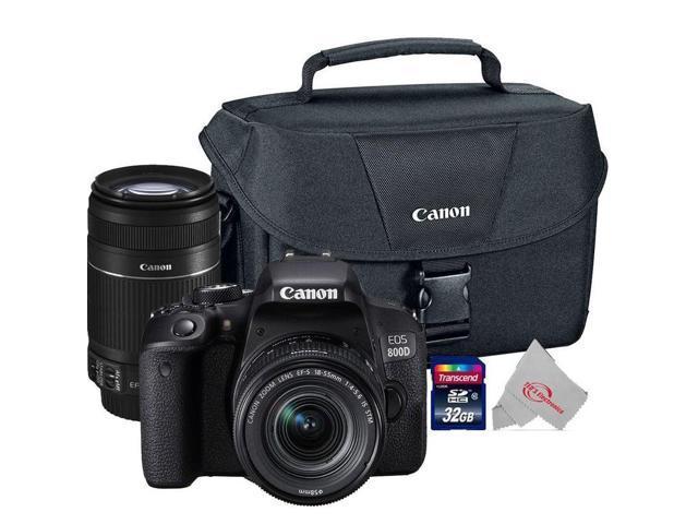 Canon EOS 800D Rebel T7i 24.2MP DSLR Camera + Canon 18-55mm + 55-250 IS II Complete Basic Lens Kit
