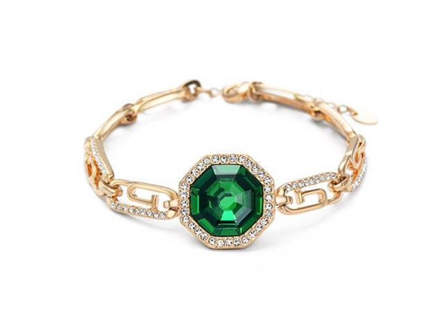 14K Gold Plated Emerald Green Link Chain Bracelet - Newegg ca