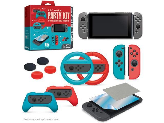 Armor3 Party Kit Starter Accessory Kit Bundle for Nintendo Switch - Racing  Wheels, Screen Protector, Thumb Grips, Crystal Case, Silicone Skins, Pro