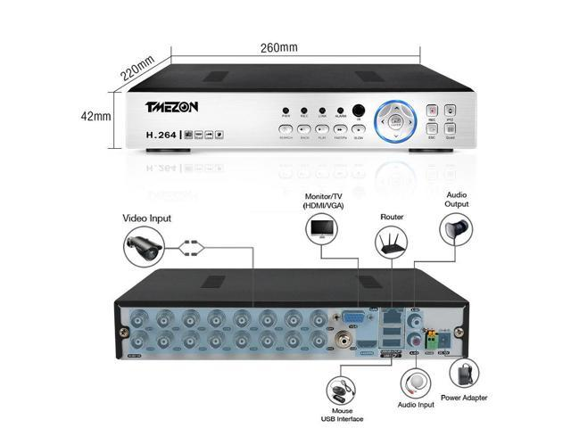 TMEZON 16CH 1080N 5IN1 HDMI DVR for Home Security CCTV Camera System No HDD