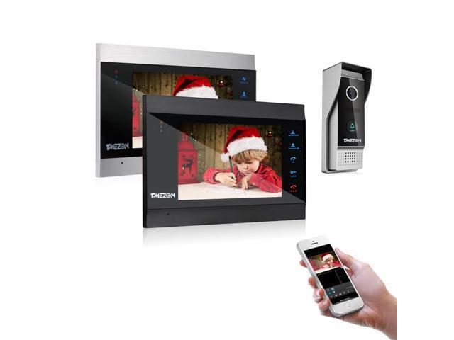 TMEZON 7 Inch Wireless/Wifi Smart IP Video Door Phone Intercom System  Doorbell Entry 2 Montior with 1200TVL Wired Doorbell Camera Night  Vision,Support