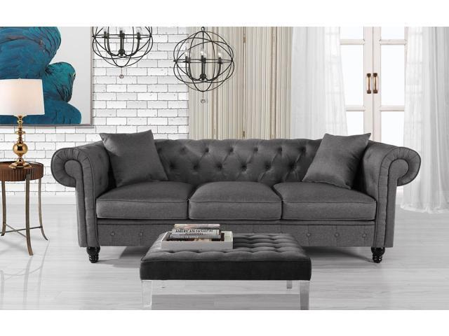 Classic Fabric Sofa Scroll Arm Tufted Button Chesterfield Couch, Light Grey  - Newegg.com