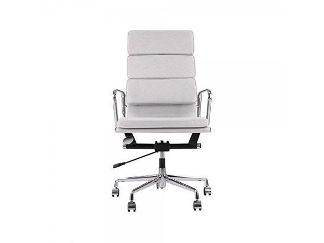 Eames Aluminum Group Style Management Highback Chair With Genuine Leather Soft Pad Office Executive