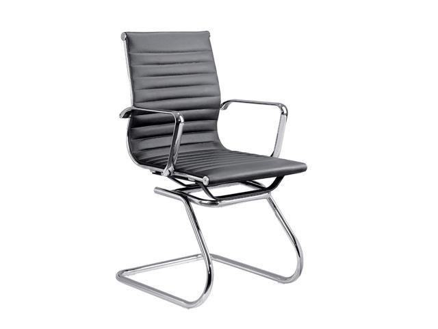 Eames Style Ribbed Pu Leather Side Office Chair Guest Chair With