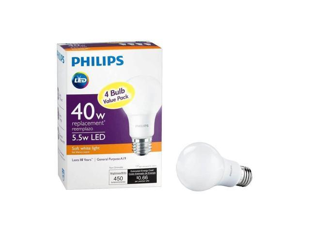 Philips 461145 40w Equivalent Soft White A19 Non Dimmable Led Household Light Bulb 4 Pack