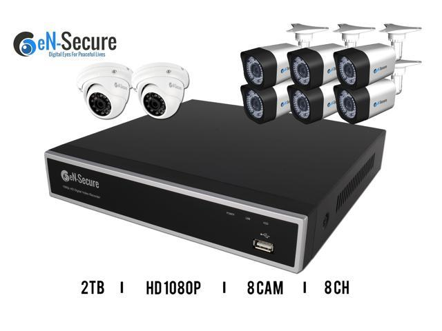 eN-Secure 8 Channel DVR CCTV Kit with 6 1080p HD 2MP Bullet & 2 Dome Cameras & 2TB Hard Drive