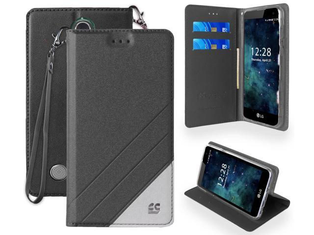 BLACK WRIST STRAP WALLET CREDIT CARD CASE STAND FOR LG ARISTO, FORTUNE  PHOENIX-3 - Newegg com
