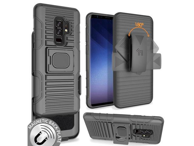 new product 819b8 651d1 Black Magnet Grip Case + Belt Clip Holster Stand for Samsung Galaxy S9  Plus, S9+ - Newegg.com