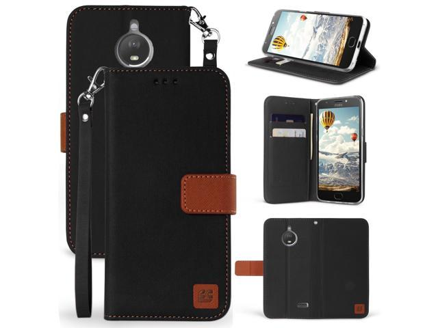 BLACK/BROWN WALLET CARD CASE + WRIST STRAP FOR MOTOROLA MOTO E4  XT1767/XT1768 - Newegg com