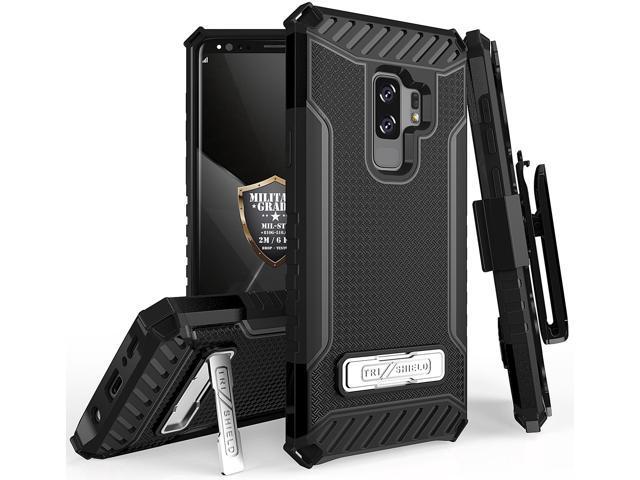 BLACK TRI-SHIELD CASE COVER STAND + BELT CLIP FOR SAMSUNG GALAXY S9 PLUS,  S9+ - Newegg com