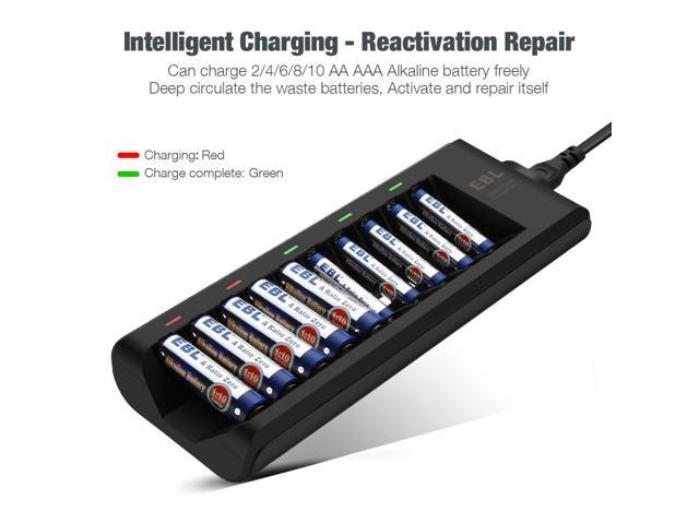 Ebl 10 Bay Alkaline Battery Charger For Disposable Aa Aaa Alkaline Rechargeable Batteries Newegg Com
