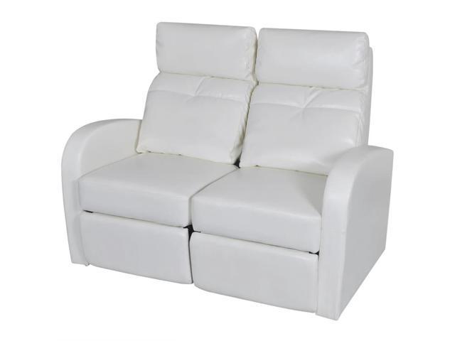 vidaXL Artificial Leather Home Cinema Recliner Reclining Sofa 2-seat White