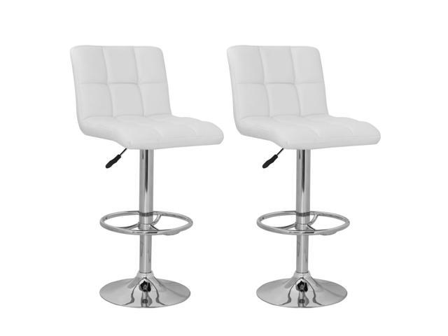 Incredible Set Of 2 White Barstool High Back Stool Modern Adjustable Height Swivel Seat Newegg Com Onthecornerstone Fun Painted Chair Ideas Images Onthecornerstoneorg