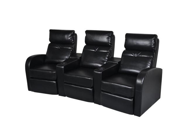 vidaXL Artificial Leather Home Cinema Recliner Reclining Sofa 3-seat Black  - Newegg.com