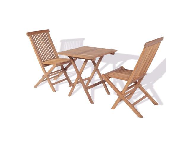 Vidaxl Teak Wood Folding Bistro Table And 2 Chairs Set Garden