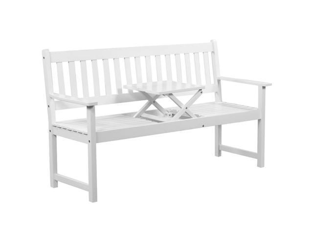 vidaXL Garden Bench with Pop-up Table Acacia Wood White - Newegg com