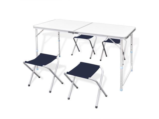 Stupendous Vidaxl Foldable Camping Table Set With 4 Stools Height Adjustable 47 2X23 6 Newegg Com Inzonedesignstudio Interior Chair Design Inzonedesignstudiocom