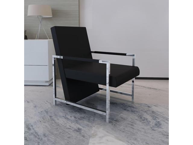 vidaXL Relax Armchair with Chrome Feet Black Artificial Leather - Sale: $80.99 USD (10% off)