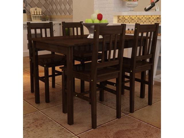 vidaXL Dining Table 4 Chairs Pine Wood Brown Breakfast Furniture Kitchen  Seat