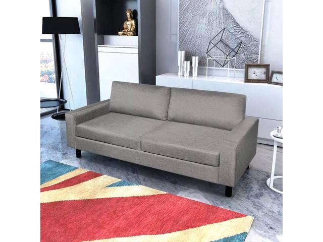 Vidaxl 3 Seater Sofa Couch Seats Living Room Seating Wooden Frame Light Gray Newegg Com
