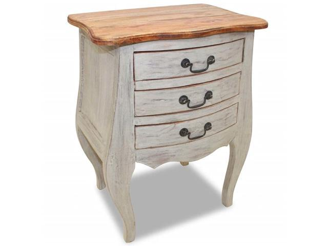 Vidaxl Solid Reclaimed Wood Bedside Cabinet W 3 Drawers Nightstand Side Table