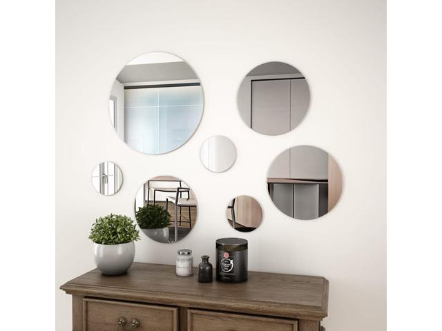 Vidaxl 7 Piece Wall Mirror Set Round Glass Bedroom Mirrors Decorative Mirror