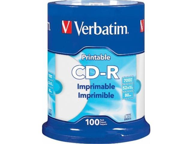 photograph relating to Verbatim Cd R Printable named VERBATIM CD-R CDR 52X 700MB White Inkjet Hub Printable 100 pack Spindle 98493 -