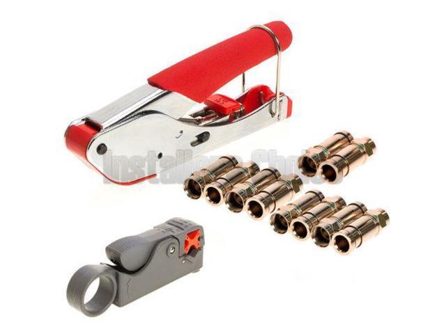 Compression Tool F BNC RCA RG6 RG59 Connector Cable Coax Stripper Crimper Set