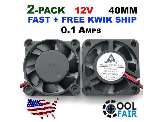 12V 40mm Cooling Computer Case Fan 4010 40x40x10mm DC PC 3D Printer 2-Pin 2 Pcs