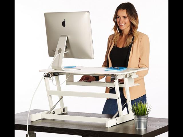 standing desk the deskriser height adjustable sit stand up dual rh newegg com