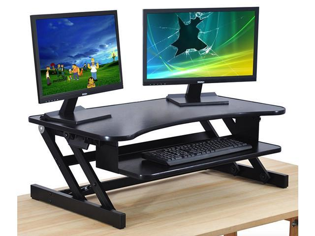 Standing Desk - the DeskRiser - Height Adjustable Sit Stand Up Dual Monitor  Office Computer Desk, Heavy Duty Supports up to 50 Lbs 32