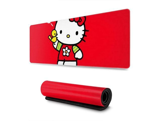 Large Gaming Mouse Pad Hello Kitty Extended Desk Pad for Computers Thick Keyboard Mouse Mat Non-Slip Rubber Base Mousepad 11.8 X 31.5 X 0.12inch