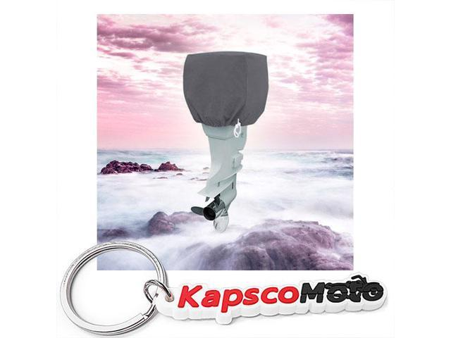 Trailerable Outboard Boat Motor Engine Cover 25-50 Horsepower - Gray Heavy  Duty Water Resistant Thick Polyester Fabric + KapscoMoto Keychain -