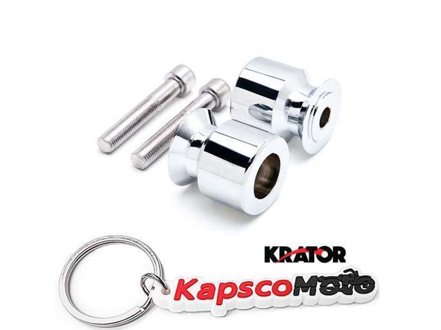 Krator Chrome Swingarm Spools Sliders Motorcycle Bobbins Compatible with Kawasaki Ninja ZX-14 ZX1400 2006-2011