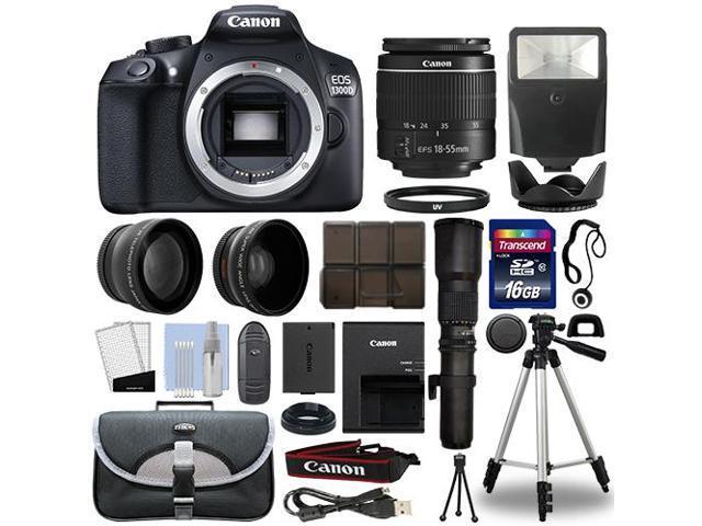 Canon EOS 1300D / T6 DSLR Camera + 4 Lens 18-55mm + 500mm + 16GB Telephoto  Kit - Newegg com