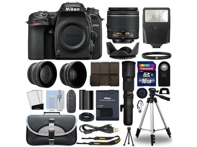 Nikon D7500 Digital SLR Camera + 4 Lens 18-55mm VR + 500mm + 16GB Telephoto Kit
