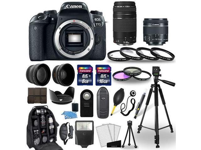 Canon EOS 77D DSLR Camera + 18-55mm STM + 75-300mm + 30 Piece Accessory Bundle