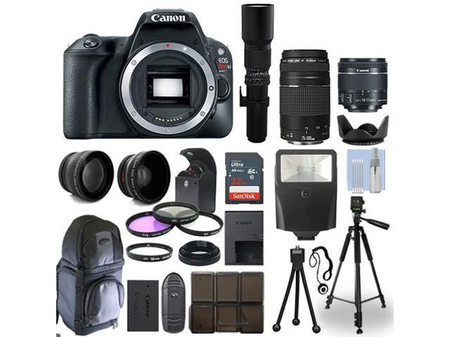Canon SL2 / 200D SLR Camera+ 5 Lens Kit: 18-55mm STM + 75-300mm + 500mm and  More - Newegg com